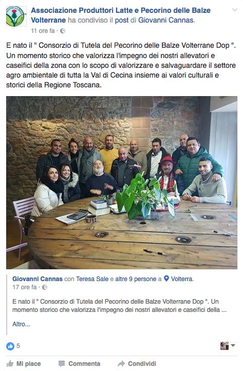 Il Post facebook che sancisce la nascita del Consorzio di Tutela del Pecorino delle Balze Volterrane DOP